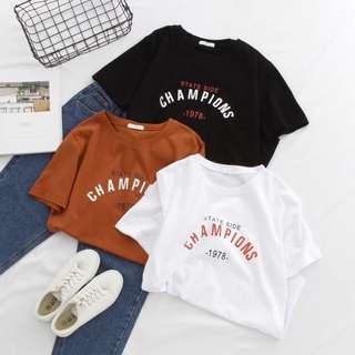 🌸韓風字母印花圓領T恤 新款 休閒 學生 英文字母 簡約休閒 寬鬆潮流時尚 個性 勝利 贏 1978 年代
