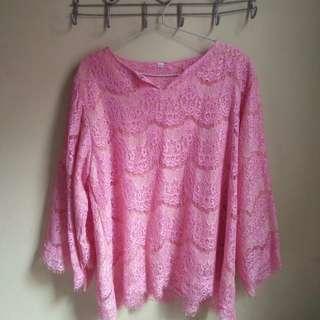 Kebaya modern shocked pink