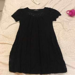 Midi Black dress / party dress : dress hitam