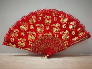 Chinese Red wedding fan