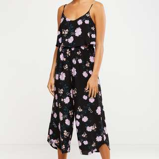 New Cotton On Sleeveless Jumpsuit Floral Black Culottes Sizes XS-M avail