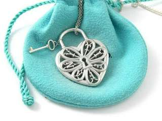 Repriced!!! Tiffany & Co Sterling Silver Filigree Heart Lock Pendant Necklace