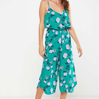Cotton On Green Jumpsuit sleeveless Floral Sizes XS and S avail