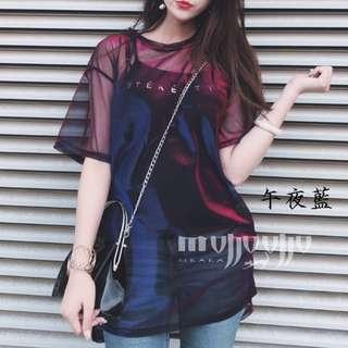 紫色透視 性感 個性 網紗短袖T恤+吊帶小可愛 吊帶背心 兩件式 電光閃亮亮系列