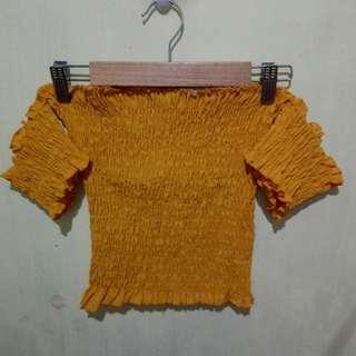 Mustard Yellow Smoke Off Shoulder Top and Square Pants Pair