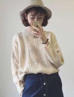 針織捲邊毛衣