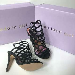 Madden Girl Direct Cage Black sz 5.5/6/6.5/7/7.5/8/8.5