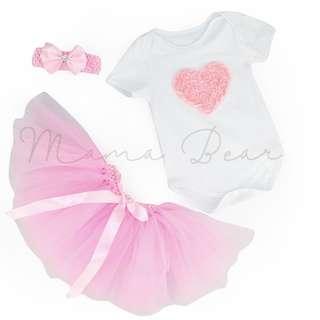 Rose Pink Heart Babysuit with Tutu Skirt Set