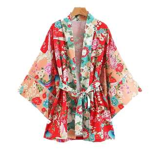 🚚 short Kimono Top -Kimono vacation wind lace stitching Harajuku crane long Hanfu cardigan