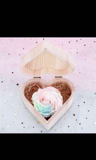 Wooden heart box with pastel soap flowers