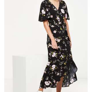 Cotton On Black Floral Maxi Wrap Dress