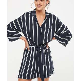 Cotton On 3/4 sleeves romper shorts stripes navy blue