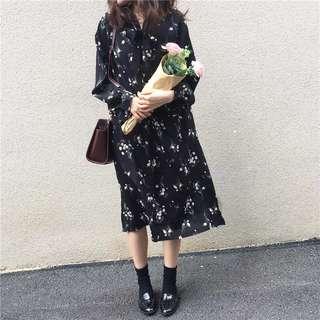🌸復古綁帶小碎花連衣裙🌼 連身裙 蝴蝶結 洋裝 清新文藝 花朵顯瘦洋裝 寬鬆 氣質 雪紡 蝴蝶小洋裝
