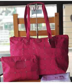 Authentic BNEW Coach Getaway Packable Weekender Tattersall Tote Set in Raspberry