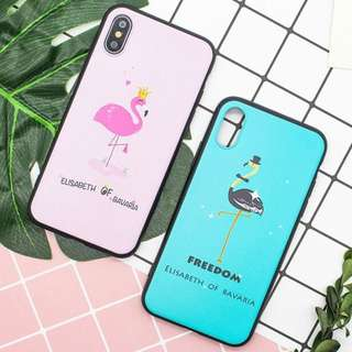 Pink Blue King Queen Flamingo Case for iPhone 6/6s 6s+, 7, 7+, 8, 8+, X