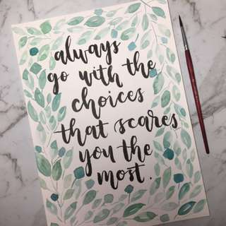 Watercolour / Brush lettering quote