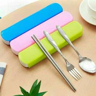 3 in 1 Spoon Fork and Chopsticks Set w/Organizer