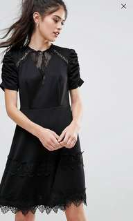 ASOS Club L Detailed Crochet & Lace Skater Dress with Puff Detailed Sleeves