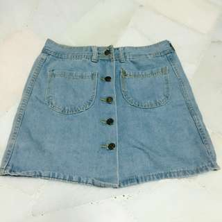 Denim Skirt in Mid Blue Wash