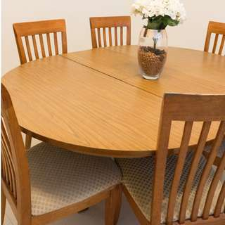 Wooden Dining Set (Table + 6 Chairs)