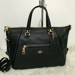 Coach Primrose Black Gold Hardware sz 32x25x15 (two ways bag, bisa jadi satchel dan tote)