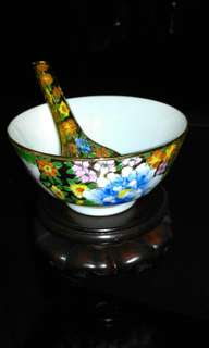 Vintage ceramic Bowl and Spoon hand painted decorated set