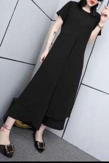 (Plus size available) Yarn split long girdle pants set