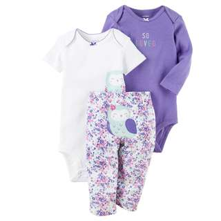 BN 6m/9m Carters 3pcs Bodysuits and Pant Purple Bird