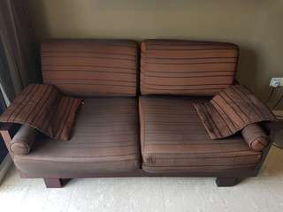 Wooden Sofa with Fabric Cushion
