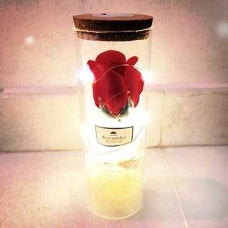 Led light Soap flower rose glass wish bottle
