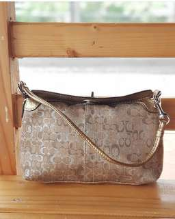 Authentic Coach Metallic Gold and Silver Turnlock Medium Wrislet