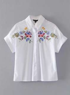 P2mart ✌🏼✔PRE ORDER STOCKS ✔Floral Leaf Embroidered Short Sleeve Button Down Shirt