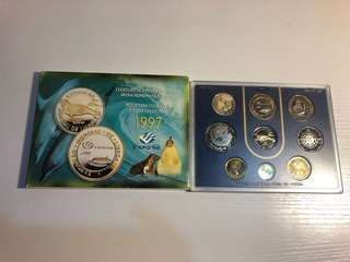 Portugal 1997 Proof coin set with 4 bimetallic coin