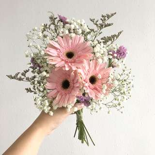 Pink Gerberas with Baby Breath and Caspia / Wedding Flowers / ROM Bouquet