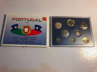 Portugal 1994 proof coin set with 2 bimetallic coins(Rare)