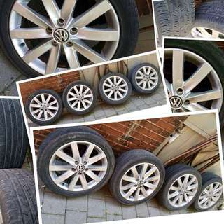 """⭐⭐⭐4 Volkswagen 17"""" 10 spoke wheels and four 225/45R17 Continental tires⭐⭐"""