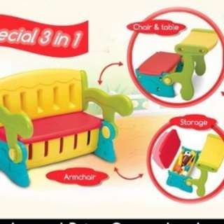 3 in 1 kids chair table storage.