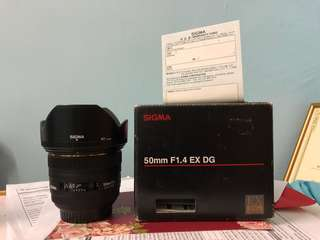 Sigma 50mm F1.4 canon mount god condition