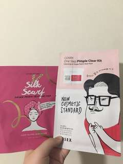 Etude house hair pack and COSRX sheet mask