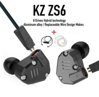 KZ ZS6 with Bluetooth and silver upgraded cable