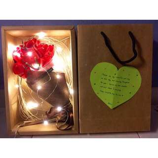 Soap rose flower bouquet gift present with led light