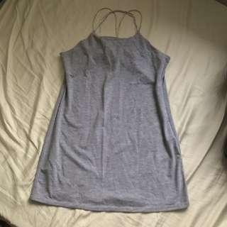 Grey cross back bodycon dress