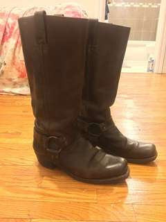 Frye tall dark brown leather boots - size 9.5