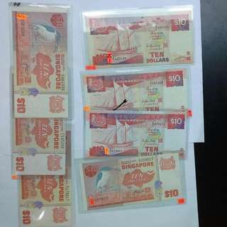 7 Singapore $10 Replacement Notes Z/1 Z/3 Z/4