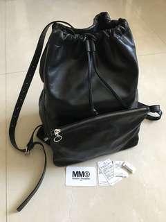 MM6 black leather backpack - Maison Margiela second line