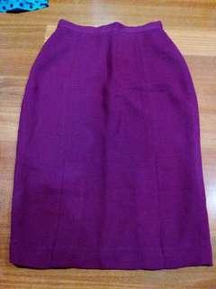 Maroon Office Midi Skirt