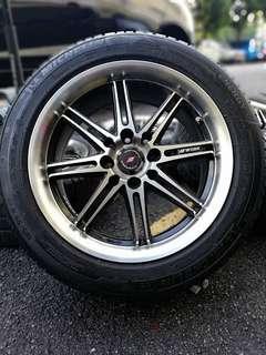 Vossen wobk 15 inch sports rim saga flx tyre 70% *jual mora mora jual*