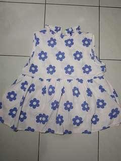 Babydoll top flower white blue
