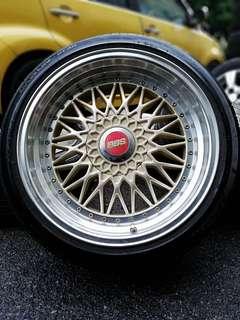 Bbs rs 17 inch sports rim bmw e30 tyre 90%. *jual mora mora jual*