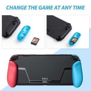 🚚 現貨Nintendo Switch K&A 一體成型手把套 TPU軟殼 保護殼 可收納2片遊戲卡隨身攜帶 握把可更換